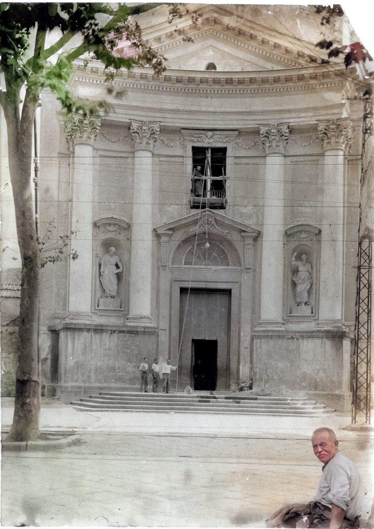 facciata basilica durante i restauri